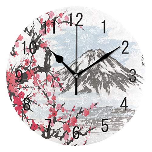 Use7 Wanduhr, japanischer Berg, Fuji, Kirschblüte, Aquarell, rund, Acryl, geräuschlos, für Wohnzimmer, Küche, Schlafzimmer -