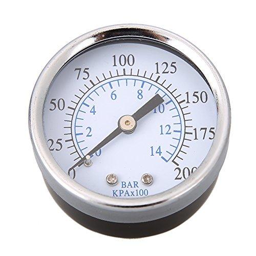 awakingdemi Wasser Manometer, Edelstahl Air Manometer für Aquarium Meter 0-200PSI Umkehrosmose System Air Kompressor -