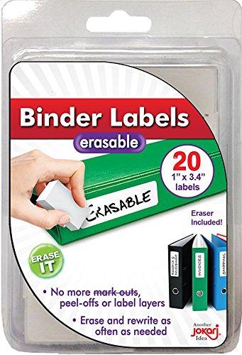 Jokari 47928 - Erasable Binder Labels Laminated - Nachfüllpackung mit 20 Etiketten und Radierer - 1,9 x 2,5 cm - Weiß - EINWEG