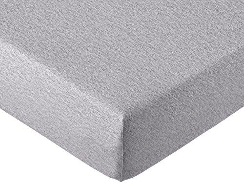 AmazonBasics - Spannbettlaken, melierter Jersey-Stoff 140g/m², Grau - 180 x 200 x 30 cm