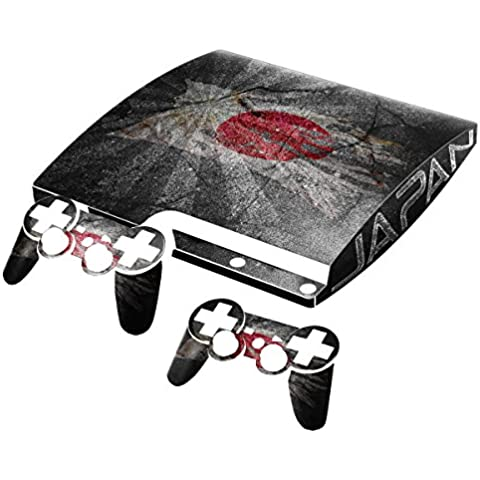 Bandera rasgada Collection 2, personalizado consola PS3 Fat Slim Full Body Wrap Faceplates Decal Vinyl piel adhesivo pegatina skin protector Drapeau Déchiré Japon PS3 Slim