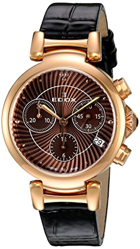 Edox Women's 10220 37RC BRIR LaPassion Analog Display Swiss Quartz Brown Watch