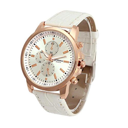 Fasching Karneval Uhren Dellin Unisex Casual Genf Kunstleder Quarz Analog Armbanduhr (Weiß)