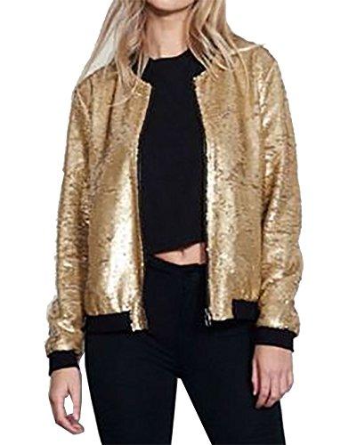 Islander Fashions Damen Langarm Pailletten Glitter Rei�Verschluss Bomberjacke Womens Club Party Coat Gold klein/Medium