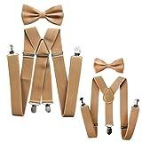 axy® Vater-Sohn Partnerlook Hosenträger mit Fliege Set für Herren-Damen-Kinder (Beige (Herren 3,5cm + Kinder Hosenträger Breit 2,5cm))