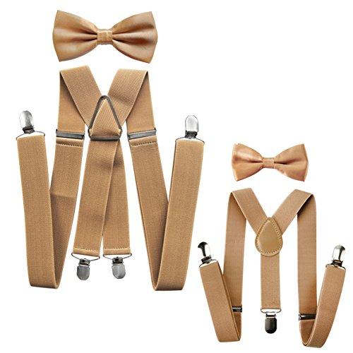 tnerlook Hosenträger mit Fliege Set für Herren-Damen-Kinder (Beige (Herren 3,5cm + Kinder Hosenträger Breit 2,5cm)) ()