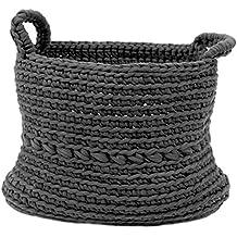 Naco comercio Basic gris escala ganchillo cesta, tamaño mediano, color gris