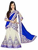 #6: Girl'S Blue&White Benglori silk-Net Semi-Stitched Lehengha Choli,Salwar Suit.Dresss Material (Kid'S Wear 8-13 Year Age Free Size Available)