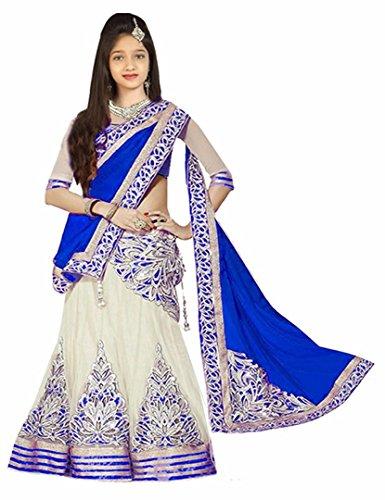 Girl'S Blue&White Benglori silk-Net Semi-Stitched Lehengha Choli,Salwar Suit.Dresss(Kid'S Wear 8-13 Year Age...