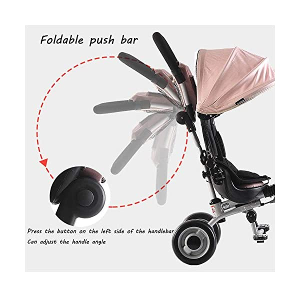BGHKFF Childrens Folding Tricycle 6 Months To 6 Years Light And Sturdy Kids Tricycle Detachable And Adjustable Push Handle 3-Point Safety Belt Child Trike Maximum Weight 50 Kg,Pink BGHKFF ★ 4-in-1 multi-function: convertible into stroller and tricycle. Remove the backrest and awning as a tricycle. ★Material: Carbon steel + environmentally friendly plastic, suitable for children from 6 months to 6 years old, maximum weight: 50 kg ★ Tricycle foldable, space saving, easy to carry, is the best travel companion, 3-point seat belt, front wheel clutch, rear wheel brake 4