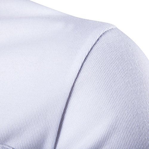 CHENGYANG Herren Sommer Bestickt Stitching Revers Poloshirt Kurzarm T-Shirt Weiß