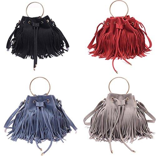 BZLine® Frauen tassel Umhängetasche Messenger Bag Tasche Handtasche Tote, 26cm x22cm x15cm Rot