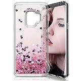 Galaxy S9 Cover, EUGO 3D Creative Design Scorre Fluttuante Liquido Case Glitter Disco Trasparente Custodia per Galaxy S9, Rosa