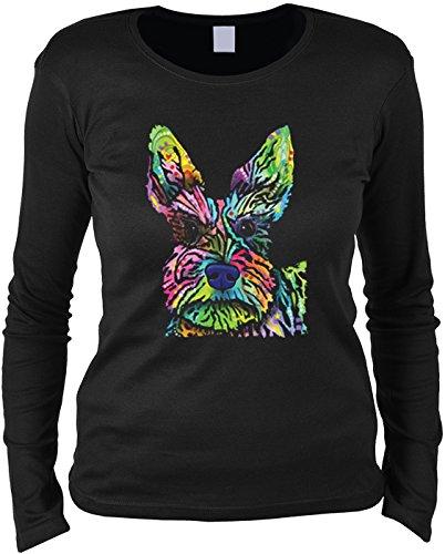 trag-das Modisches Hunde Damenshirt mit Hunde Motiv: Stella - Mädchen Frauen Geschenk Weihnachten Geburtstag Rundhals Mama (Mädchen Stella Langarmshirts)