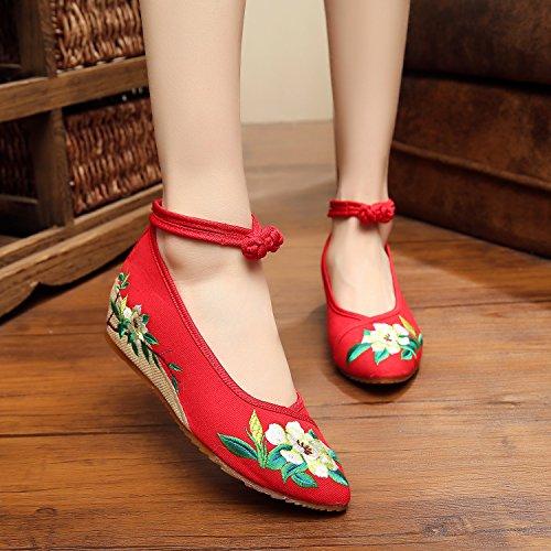 Gxs Belle Chaussures Brodées, Lin, Rideaux Simples, Style Ethnique, Chaussures Femme, Mode, Confortable, Chaussures En Toile Augmentent Les Fleurs Vertes Rouges