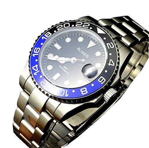 bliger 40mm GMT Style Blau und Schwarz Keramik Lünette Schwarz Zifferblatt Automatik Uhr
