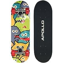 Apollo Skateboard, petit Skateboard Complet avec roulements ABEC 3, aluminium Axes, motifs différents–pour enfants et adolescents