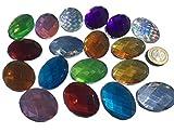 CRYSTAL KING 18 Stück 40mm x 30mm große Selbstklebende ovale glitzernde Bunte Acryl Steinchen Mosaik Strass Steine zum Bekleben Strasssteine eckige Acrylsteine