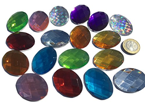 18 Pieces 40 mm x 30 mm Oval Self-Adhesive Glitter Mosaic Colourful Acrylic Jewels Mixed Colours Ornament Rhinestone Cover Diamante Square Acrylic Stone Opal Effect Rainbow Effect Laser Style Rainbow Bead Clear Crystal Craft Gems Gltzer Earr for Decoratin