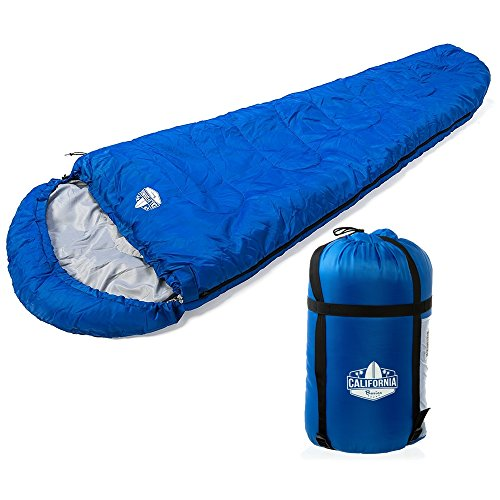 California Basics 3-4 Season 400GSM Mummy Sleeping Bag with Water-Resistant Shell, Drawstring Hood and Draft Collar for Camping, Hiking, and Outdoors, Compression Bag Included, Blue/Grey