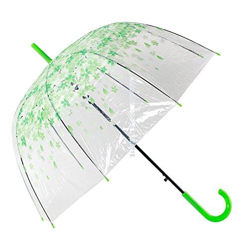 Transparent Clear Bubble Umbrella, Automatische Open Fashion Dome Form Regen Regenschirm Dekoration für Hochzeiten und Veranstaltungen (Grün)
