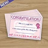 HEN DO WINNERS CERTIFICATES - Hen Do Night Game or Quiz Prize - 10 Pack