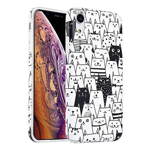 KIMICO Schutzhülle für iPhone XR, 4 Ecken, dick, stoßfest, transparent, süßes Vintage-Design mit tropischen Blumen, für Mädchen [Slim Fit & Anti-Kratzer] Transparente weiche Schutzhülle, Cat Family XR