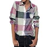 Damen Oberteile MYMYG Frauen Casual Match Farbe Langarm Knopf Lose Kariertes Hemd Bluse Top Leinen Herbst und Winter Sweatshirt(Mehrfarbig,EU:38/CN-L)