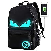 School Bags,Anime Luminous Backpack USB chargeing Port Laptop Bag Handbag Canvas Shoulder Daypack for Cool Girls Boys Teens Outdoor Backpack (Black-Evil Eye)