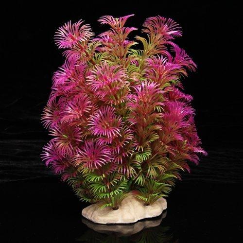 TOOGOO(R) Kunstpflanze 15-20CM Aquarium Dekoration Wasserpflanze violett+gruen (Grün Aquarium Dekoration)