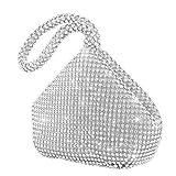 elfisheu Abendtasche Damen Diamant Clutch Runden Gehobenen Handtasche mit Griff (Silber)