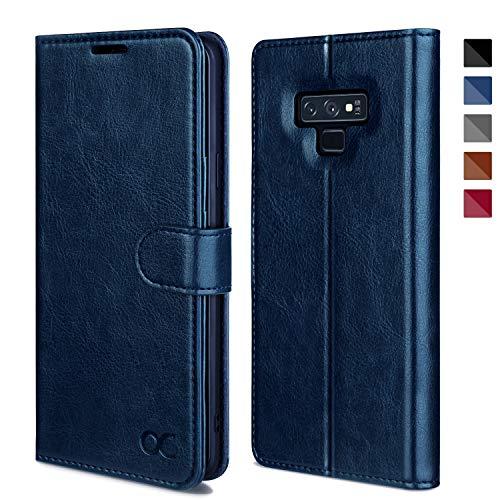 OCASE Samsung Galaxy Note 9 Hülle, Handyhülle Samsung Galaxy Note 9 [Premium Leder] [Standfunktion] [Kartenfach] [Magnetverschluss] Leder Brieftasche für Galaxy Note 9 Blau