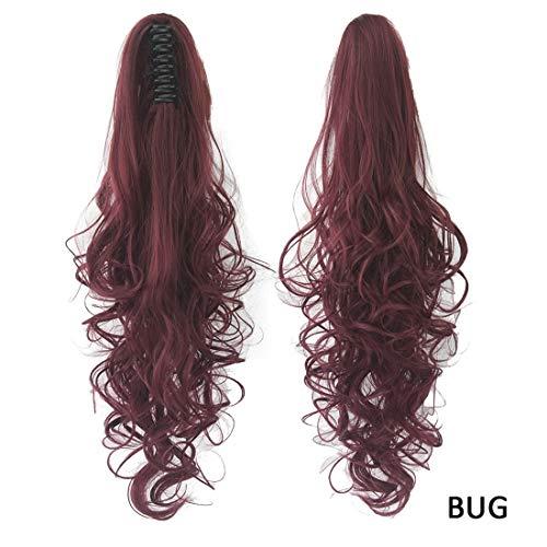 (Igspfbjn Europäische und amerikanische Perücke Haarverlängerungen für Frauen 15 Farben Optional Lange lockige Haare Pferdeschwanz Clip (Color : Color Bug))