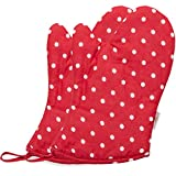 Neoviva Cute Child Oven Gloves for Play Kitchen, Little Chef Oven Mitts for Funny Easy Bake Oven, Polka Dots Lollipop Red