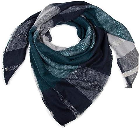 styleBREAKER quadratischer XXL Schal, Deckenschal mit Tartan Plaid Muster und Fransen, warm und weich, Unisex 01018139,