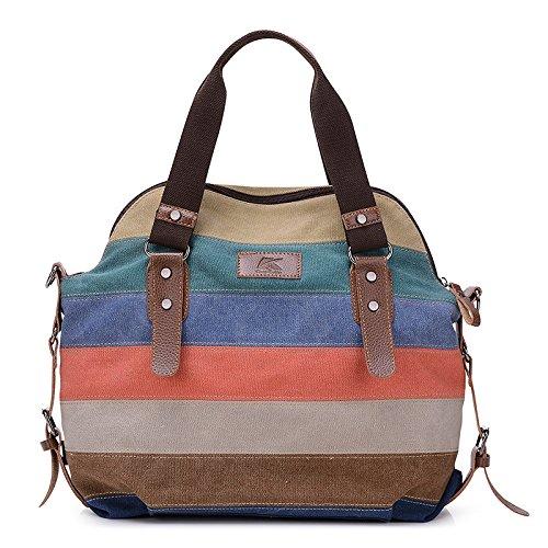 Seeyoulife Farbgestreifte Leinwand Damen Handtasche /Umhängetasche Mädchen Handtasche Schultasche Leinwand Style 2