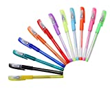 Meetory 12 Pieces Glitter Gel Pens - Multi Colored Art Ballpoint for Adding Sparkle to Colouring Books and Art Projects