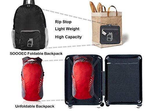 SOOOEC 22L Wasserdichter Ultraleicht Rucksack,Faltbarer Rucksack für Outdoor Wandern Camping Reisen Trekking Nylon kleiner wanderrucksack Grün