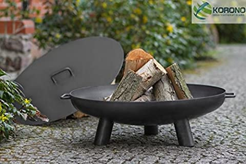 Korono FIRE PIT, Fire Bowl with Handle & Lid 70cm on 3legs–Fire   Portable Grill   Lighting