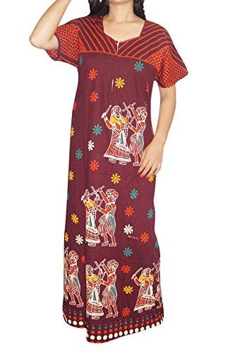 Indiatrendzs Women's Nightwear Maxi Night Dress Cotton Printed Maroon Night Gown Chest-50
