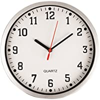 REAL ACCESSORIES® Stylish Modern Wall Clock with Silver Frame & White Dial. Easy Readable Big Numbers. Ideal for Any Room in Home, Office, School, Caravan, Garage.