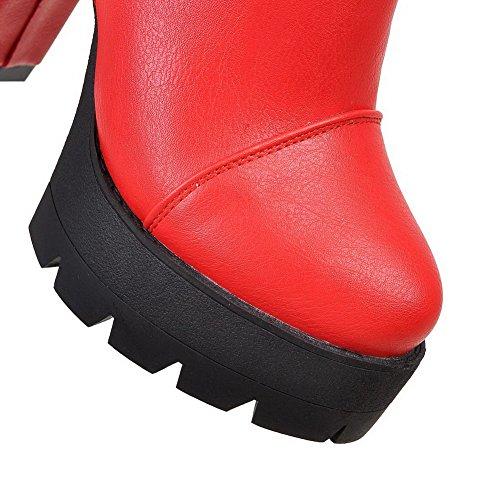 AgooLar Femme à Talon Haut Couleur Unie Rond Zip Bottes avec Métal Rouge