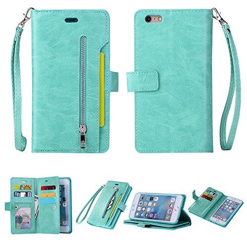Yobby Reißverschluss Brieftasche Hülle für iPhone 6, iPhone 6S Handyhülle,Slim Luxus Leder Flip Case [9 Kartefach] Magnetisch mit Stand und Handschlaufe Schutzhülle-Minzgrün - 4 Iphone Fall Pastell