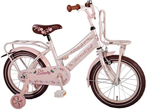 bicicletta bambina elegante 16 pollici ruotine portapacchi rosa