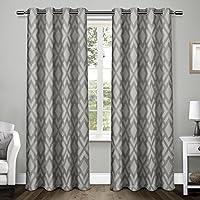 Exclusiva casa cortinas Easton Heavyweight geométrico Jacquard lino con tejido opaco maletero ojal metálico en la parte superior ventana cortina Panel par, perla negra, 54x 243,8, 2piezas