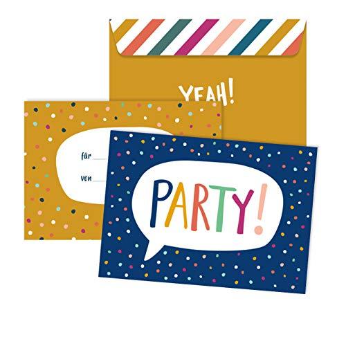 JulicaDesign Einladungen zum Geburtstag Kinder | 6 Karten mit Umschlag | Geburtstagseinladung für Junge + Mädchen