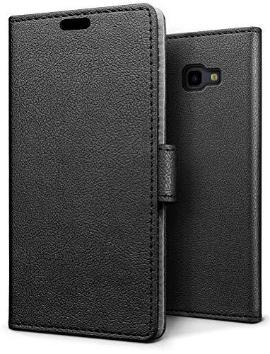 SLEO Hülle für Samsung Galaxy J4 Plus/J4+/J4 Core Hülle,PU lederhülle [Vollständigen Schutz] [Kreditkartenfach] Flip Brieftasche Schutzhülle im Bookstyle - Schwarz