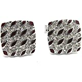Brown Special Pattern with White Crystal Square Cufflinks