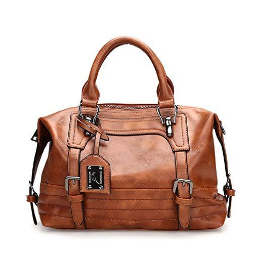 AlwaySky Damen Handtasche, weiche Umhängetasche aus PU-Leder, Vintage Totes Satchel Schulter Boston Tasche für die Arbeit einkaufen (braun) -