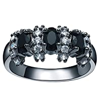 Bigood Women Gemstone Cubic Zirconia 18K Stainless Steel Rings Black 6